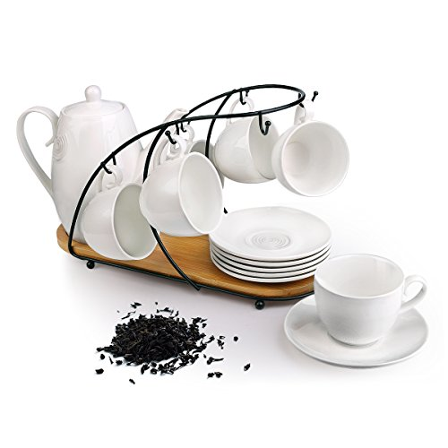 Ceramic Tea Cup Set, including 6 pcs Tea Cup and Saucer with 1 teapot Bamboo Rack, for Home and Office Coffee Teaparty by Pukka Home (Service for 6 (5 oz)) …