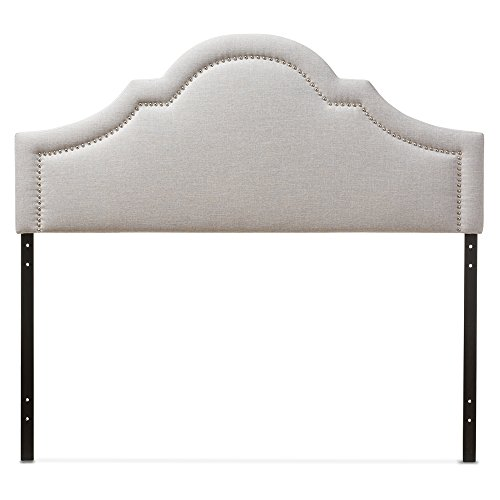 Baxton Studio Jardan Modern & Contemporary Fabric Upholstered Headboard, Full, Greyish Beige ()