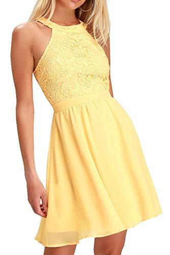 - Lamilus Women's Casual Sleeveless Halter Neck Party Lace Mini Dress (X-Large, Yellow-018)