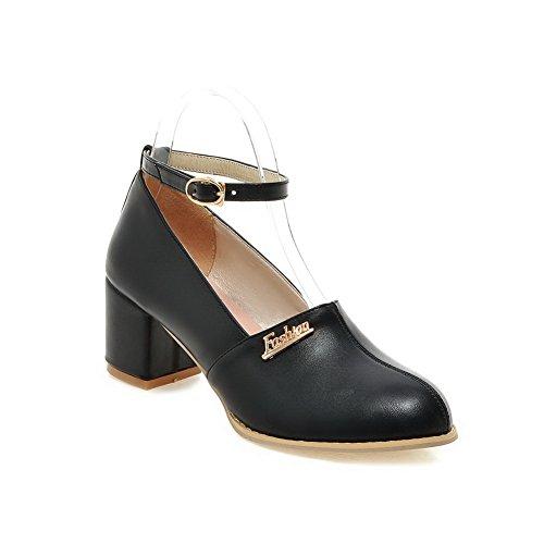 Balamasa Mesdames Métal Boucles Chunky Talons Charmes Uréthane Pompes Chaussures Noir
