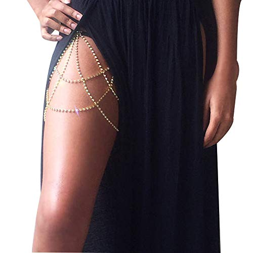 BestQT Women Sexy Rhinestone Leg Chain Body Chain Jewelry Thigh Leg Chain Bracelet Leg Jewelry for Party Beach Accessories (Gold)