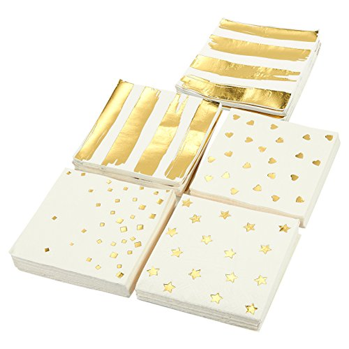 100-Pack Cocktail Napkins - Disposable Paper Party Napkins in 5 Assorted Designs Gold Foil Designs - Perfect for Birthdays, New Years, Anniversary and Special Occasions, Folded 5 x 5 Inches