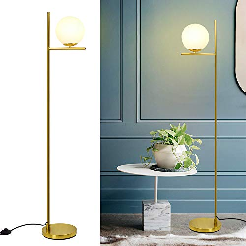 DLLT LED Frosted Glass Globe Floor Lamp-9W Standing Lamps for Modern, Mid Century Contemporary Rooms, Energy Saving Tall…