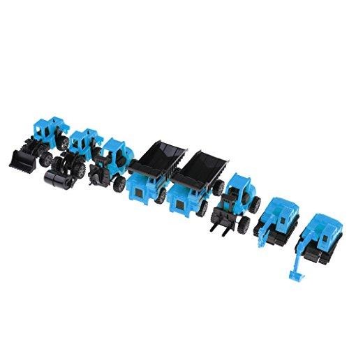 Perfk 全8点 ふり遊びゲーム エンジニアリング 車両 トラックモデル 模型 おもちゃ プラスチック製 2色選択 - 青