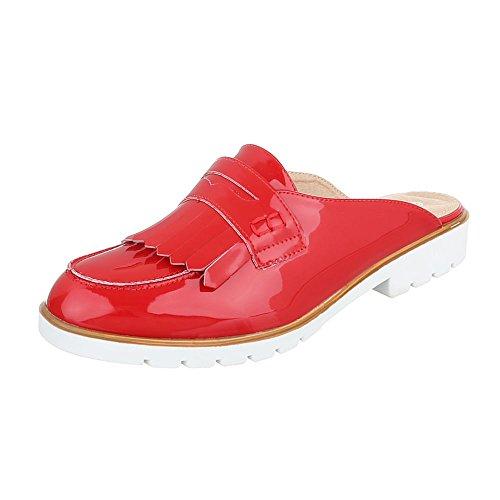 Ital-Design - zapatillas de baile (jazz y contemporáneo) Mujer Rojo