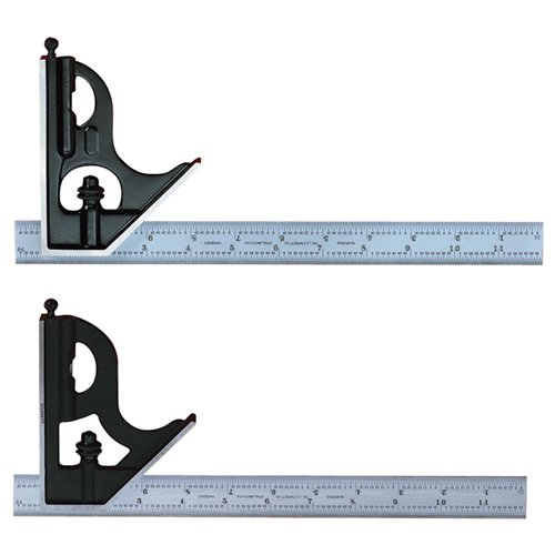 Starrett 11H-12-4R Combination Square with Cast Iron Head and Black Wrinkle Finish