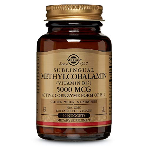 Solgar Sublingual Methylcobalamin (Vitamin B12) 5000 mcg, Active Coenzyme Form of B12, Non-GMO, 60 Nuggets