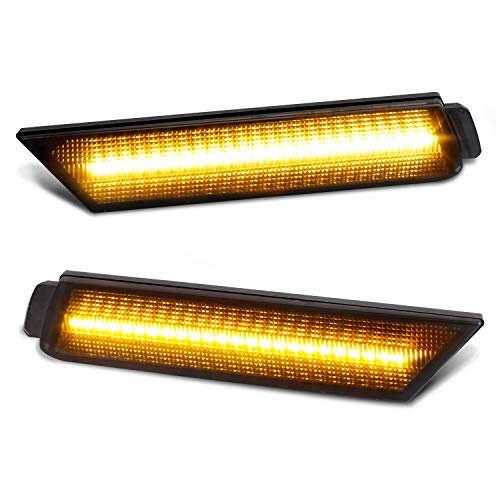 2014 Marker - RUXIFEY Smoked Lens LED Side Marker Lights Front Bumper Sidemarker Lamps Reflectors Compatible with 2010 to 2015 Chevy Camaro Amber - Pack of 2