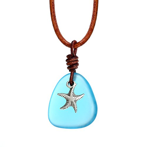 Glass Necklace Starfish (Starfish Necklace Sea Glass Water Drop Pendant Necklace for Women Pearl Leather Choker Handmade Pearl Jewelry)