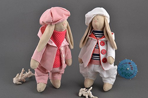 Set Of 2 Handmade Fabric Toys Rag Dolls Stuffed Toys For ...