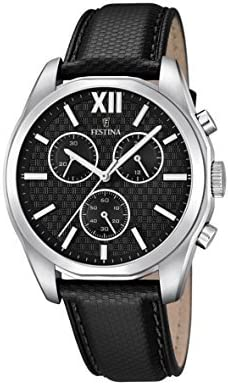 フェスティナ Festina Men's Quartz Watch with Black Dial Chronograph Display and Black Leather Strap F16860/1 [並行輸入品]