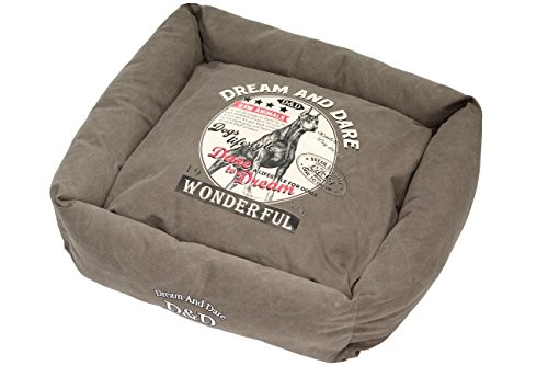 D&D Lifestyle Square Bed Hunt Pet Bed, 65 by 65cm, Timberland Grey