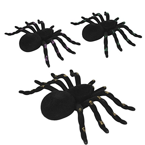 Halooween Decorations (Set of 3 Halloween Spiders Flocked with Glitter Trim Legs (Assorted))