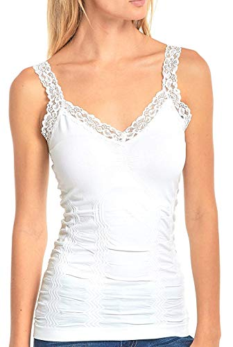 Lace Ribbed Tank Top (White Women's Seamless Wrinkled Lace Trim Camisole Tank Top, One Size)