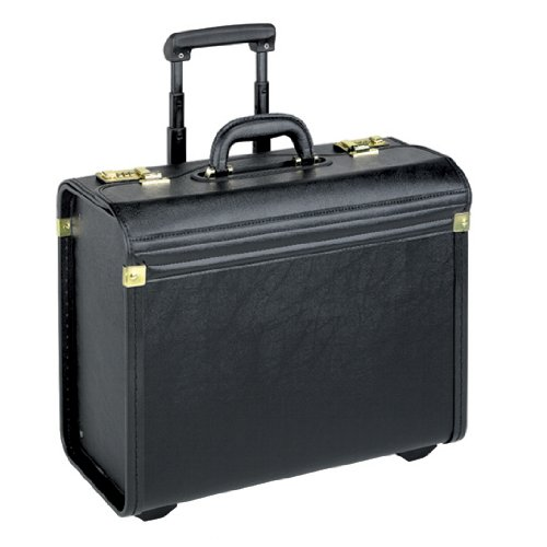 US Luggage Leather Look Rolling Catalog Case – K74-4 Black, Bags Central