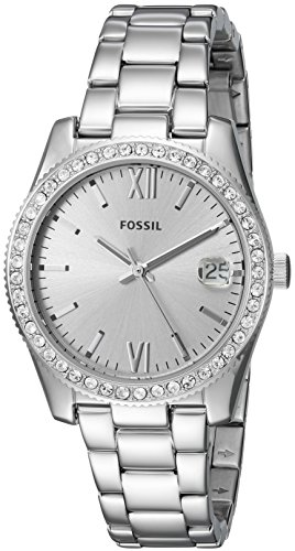(Fossil Women's Scarlette Quartz Watch with Stainless-Steel Strap, Silver, 16 (Model: ES4317))