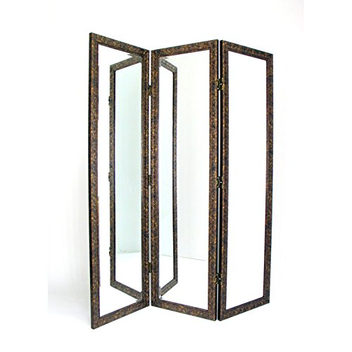 3 Panel Dressing Screen in Gold & Brown Finish by Wayborn