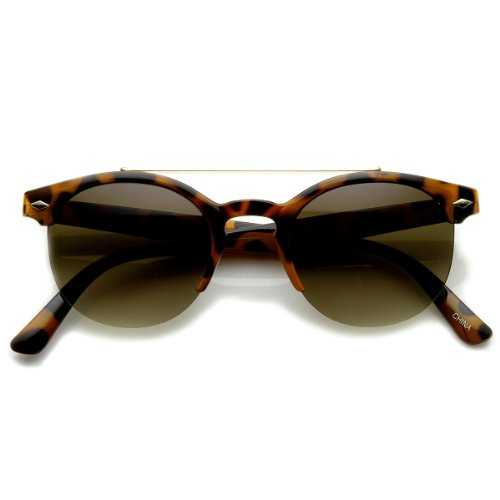 zeroUV - Double Bridge Half Frame Semi-Rimless Round Sunglasses (Shiny-Tortoise - Half Sunglasses Round