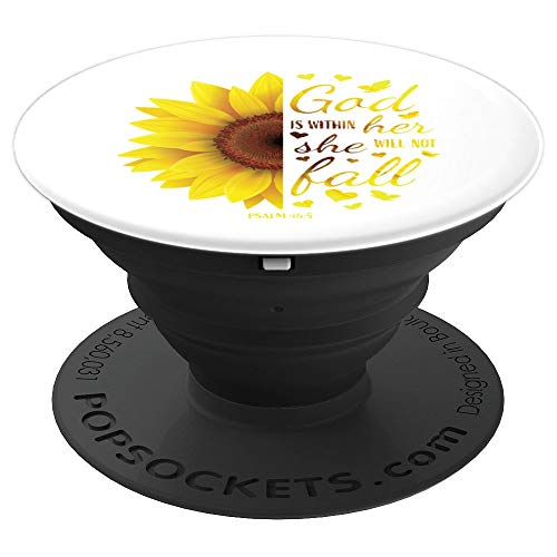 Sunflower Gift Women Christian Bible Verse Sayings Religious PopSockets Grip and Stand for Phones and Tablets