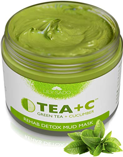 LILY SADO Green Tea Matcha + Cucumber Detox Mud Mask - Natural, Organic Vegan Face Mask - Anti-Aging, Antioxidant Defense Against Acne, Blackheads & Wrinkles for a Luscious, Soft Glowing Complexion (Best Mud Mask For Dry Skin)