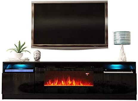 MEBLE FURNITURE RUGS York 02 Electric Fireplace Modern 79″ TV Stand