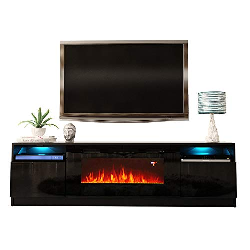 MEBLE FURNITURE & RUGS York 02 Electric Fireplace Modern 79″ TV Stand