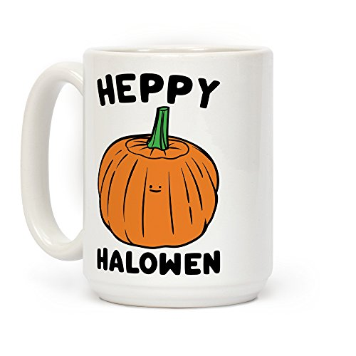 LookHUMAN Heppy Halowen Parody White 15 Ounce Ceramic Coffee Mug]()
