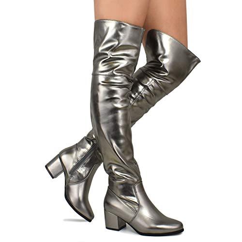 Premier Standard - Women's Over The Knee Stretch Boot - Trendy Low Block Heel Shoe - Sexy Over The Knee Pullon Boot, TPS Booties-20Nednil Pewter Size 8 -