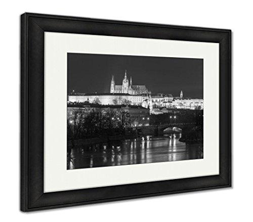 Ashley Framed Prints Prague Castle Charles Bridge Little Quarter Night Prague Czech, Wall Art Home Decoration, Black/White, 30x35 (Frame Size), Black Frame, AG5574076