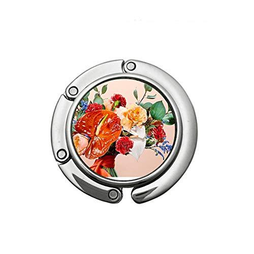 - Theme Designed Shoulder Handbag Folding Purse Holder Hangers Hooks-Floral