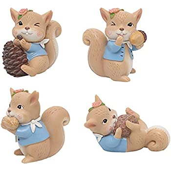 4 Pack Animal Figurine Cake Topper, Cute Resin Woodland Animal Squirrel Toys Miniature Garden Home Cake Decoration for Baby Shower Birthday Anniversary