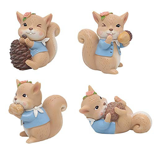 4 Pack Animal Figurine Cake Topper, Cute Resin Woodland Animal Squirrel Toys Miniature Garden Home Cake Decoration for Baby Shower Birthday Anniversary (Pine Cone Wedding Cake Toppers)