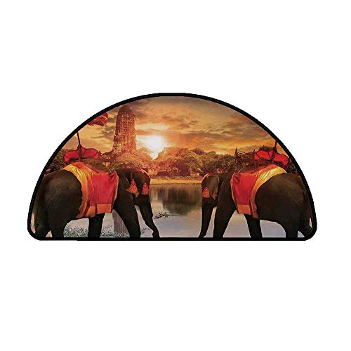 Asian Comfortable Semicircle Mat,Animals Dressing Traditional Costumes Standing in Front of Pagoda Patience Symbol Print Decorative for Living Room,29.5