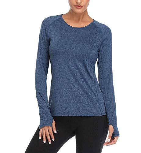 VUTRU Dames Sport T Shirt Lange Mouw Running Top Fitness Sportshirts met Duimgaten