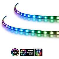 Uitgebreide computer magnetische 5V 3 pins PC LED strip - 2 stuks RGB PC LED stripverlichting voor ASUS Aura SYNC / MSI…