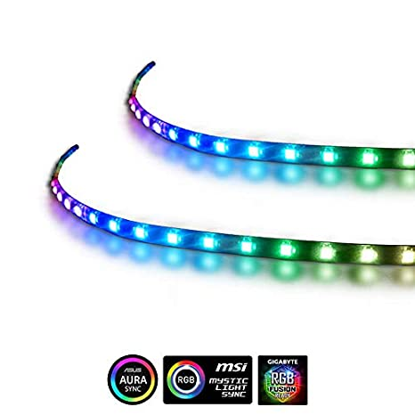Extended Computer Magnetic 5V 3 Pin LED Strip - 2PCS RGB LED Strip Light  for ASUS AURA SYNC / MSI Mystic Sync / ASROCK AURA RGB / GIGABYTE RGB  Fusion