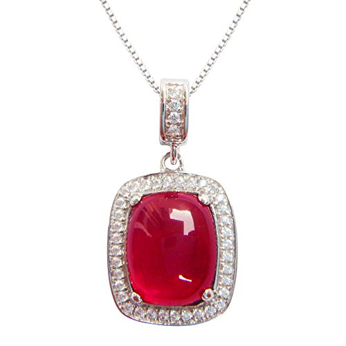 Navachi 925 Sterling Silver 18k White Gold Plated 6.0ct Square Ruby Az9009p Necklace Pendant 16