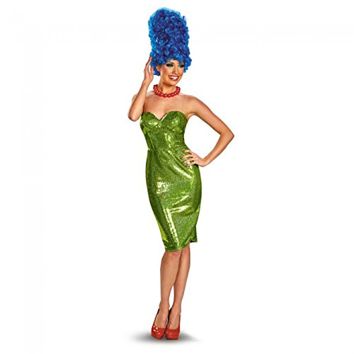 [Disguise The Simpsons Marge Glam Deluxe Womens Costume, Green/Red, Medium/8-10] (Female Tv Characters Costumes)