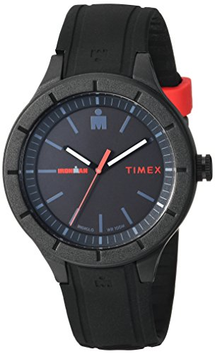 Timex TW5M16800 Ironman Essential Urban Analog 42mm Black/Red Silicone Strap Watch ()