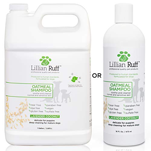 Lillian Ruff Oatmeal Dog Shampoo - Lavender Coconut Scent with Aloe - Deodorize and Soothe Dry Itchy Skin - Gentle Cleanser for Normal to Sensitive Skin - Made in USA