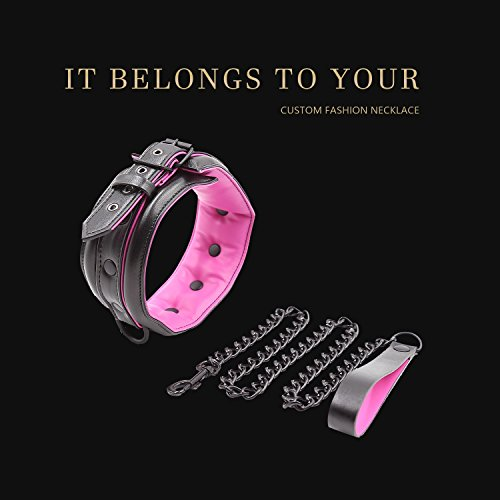Leather Collar and Leash Neck Choker Adjustable Necklace with Chain Detachable For Men Women by KOL_Fashion (Image #4)
