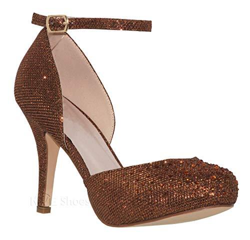 Bronze Evening Shoes - MVE Shoes Womens Stylish Sparkle Closed Toe Ankle Strap Dress Shoes, Robin-110 Bronze Sparkle 10