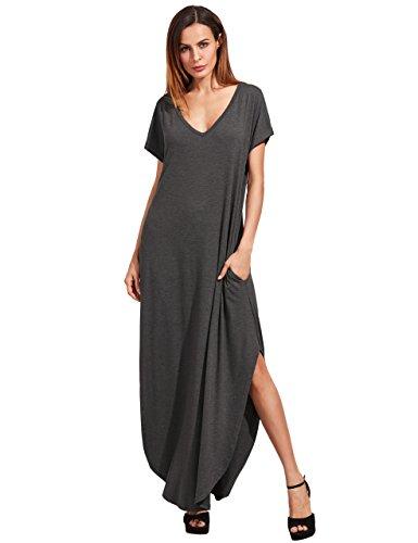 Verdusa Women's V Neck Side Pockets Split Hem Beach Long Maxi Dress Dark Grey XS