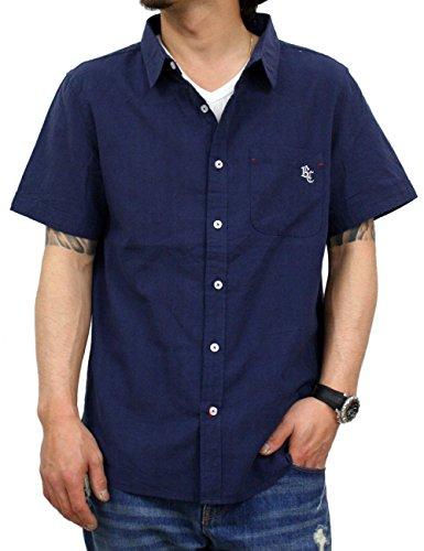 シャツ半袖綿麻メンズリネンシャツrcss7343(L,NAVY)