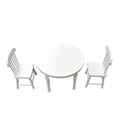 Lumumi Dollhouse Kitchen Accessories, 1:12 Dollhouse Miniature Furniture White Color Round Dining Table Chair Set: Toys & Games