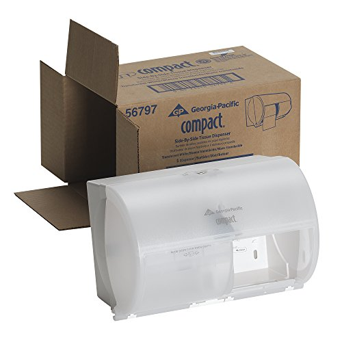 Compact 2-Roll Side-by-Side Coreless High-Capacity Toilet Paper Dispenser by GP PRO (Georgia-Pacific), Translucent White, 56797, 10.1