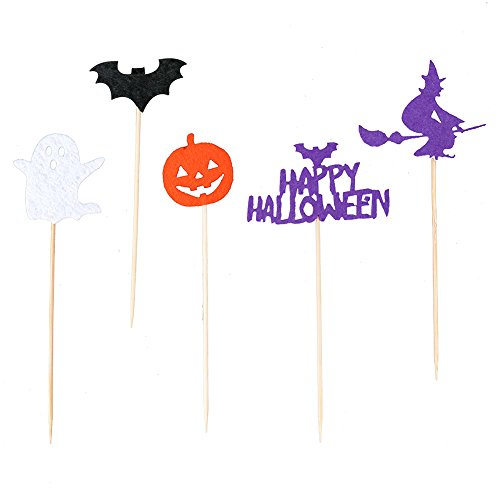 Zamango Halloween Party Pumpkin Cupcake Cake Toppers Picks Decoration,Pack of 10 (Decorating Pumpkin Cupcakes For Halloween)