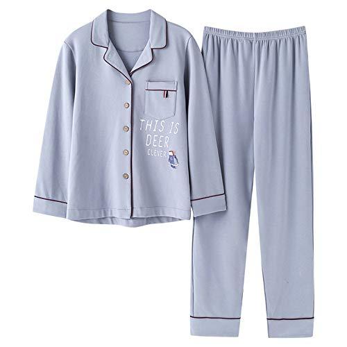 Pigiama Casual Nighty A In New Photo Abito Color Cardigan Donna Lettere In Mmllse Da Pigiami Set Dressing Cotone Homewear Blu Sleepwear Da BnvHgFw0qx