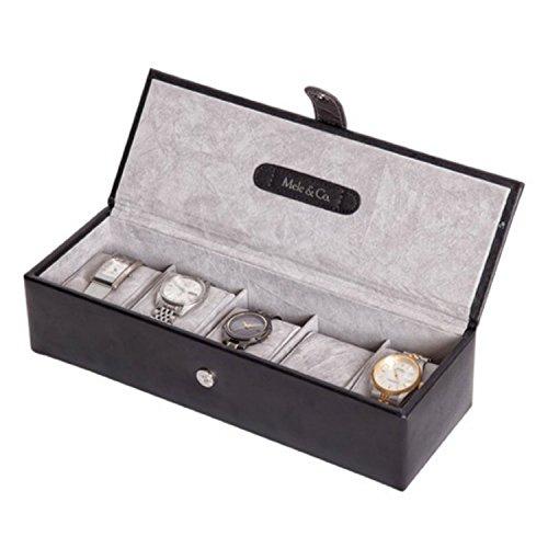 Uhrenbox, Leder, für fünf Uhren, Schwarz / silberfarben