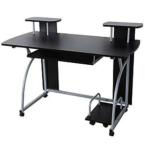 Songmics escritorio de la computadora negro mesa de for Mesas de ordenador amazon
